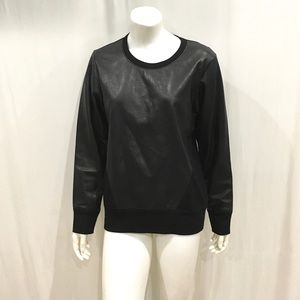 Helmut Lang Woman's Black Leather Patch Sweater